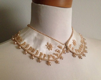 Vintage 1940s 40s bridal wedding cream white satin and champagne pearl Peter Pan collar with hook and eye closure