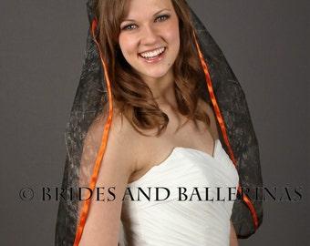 Camo Wedding Veil, Waist Length Bridal Veil, 1 Layer Veil