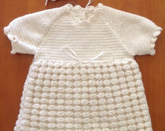 Handmade Baby's Crochet Dress,Bonnet and Bootees