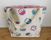 Pink owl canvas shoulder bag Gift for Women Diaper bag New mum gift Material handmade handbag Baby Shower Fabric teacher tote Purse