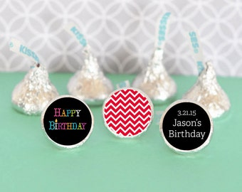 Hershey Kiss Labels-Birthday Party Favors-Stickers for Candy Kisses-Personalized Hershey Kiss Favor Labels (set of 108)
