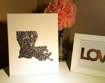 8x10 Canvas Gold or Silver Glitter States