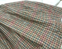 Authentic original Ralph Lauren full boxed pleat dust ruffle/bedskirt green burgundy brown houndstooth pattern