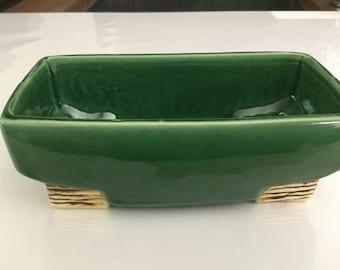 Vintage ceramic McCoy pottery planter rectangular green bamboo Art Deco style