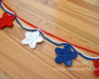 Crochet Star Garland/Red, White & Blue Swag/Fourth of July Photo Prop~READY TO SHIP!