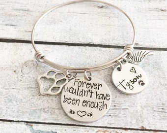 Pet loss- Hand stamped dog bangle - Pet memorial jewelry - dog or cat loss - Unique jewelry - Personal hand stamped expandable bracelet