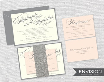 Wedding Invitation, Blush Pink Wedding Invitations, Pink and Gray Wedding Invitation, Glitter Band, Calligraphy Lettering