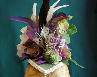 Bird of Paradise Victorian Headpiece,Victorian Fairy Headpiece,Burlesque Head-dress,Mardis Gras Costume-Ready to Ship