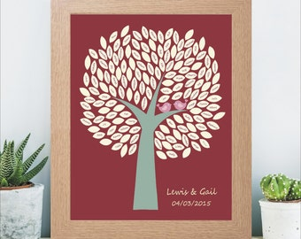 A3 Personalised Unframed Wedding Signature Tree - Personalised With Name and Date - Available In Choice of Colours - Wedding Keepsake