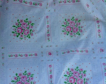 Vintage flat sheet, twin bed,pink roses,