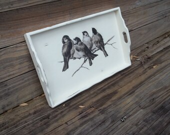 Small Vintage Wooden Serving Tray Decoupage Birds