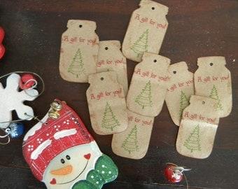 Christmas Tree Mason Jar Gift Tags, Canning Jar Labels, Stickers, Mason Tags, Set of 10