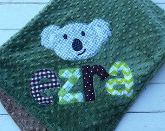 baby blanket-Personalized double sided minky blanket-any color minky-applique theme baby blanket-customized baby blanket with applique name