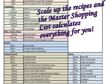 Freezer Meal Shopping List with Recipe Cards and Labels!