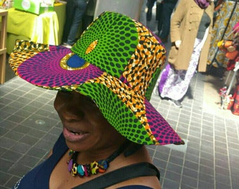 Petiz African Wax Print Sun Hat (Wholesale Available)