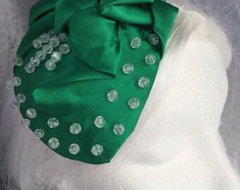 Green hat, green fascinator, green headpiece, green small hat, Art Deco hat, Art Deco headpiece, Art deco fascinator