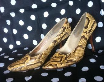 classy vintage real snakeskin stiletto pumps high heels 60s size 8.5 m/ 38 elegant preppy