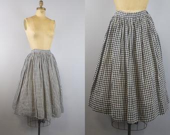 1950s Gingham Skirt / Blue & White Gingham Skirt /