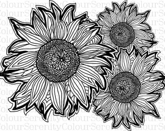 Sunflowers Printable Instant Download Adult Coloring Page #29