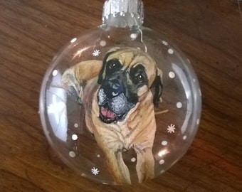 Custom Dog Ornament, Personalized, Handpainted with Snow Falling