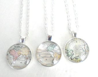 Little Antique Map Necklace, World Map Necklace, Vintage World Map, Traveler Jewelry