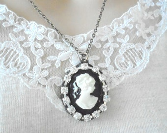 Antiqued Cameo Necklace, Crystal Rhinestone Pendant, Victorian Style Jewelry, Black White Necklace