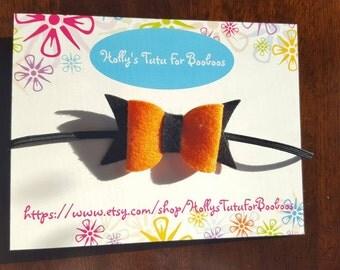 Felt bow on skinny elastic,  perfect for newborn, infant, baby, toddler, child,  birthday, wedding, flower girl, holidays, halloween