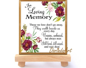 In loving memory printable Purple floral Wedding memorial sign Memorial quotes Those we love don't go Reception sign 5x7 + 8x10 DOWNLOAD
