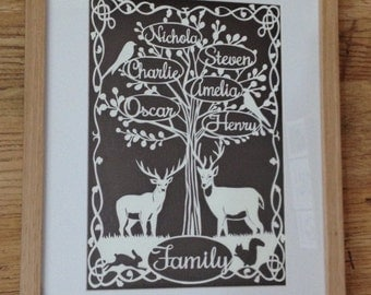 Family tree papercut - A4 - personalised - Papercutting - art -  stag - framed - bespoke - woodland - bird - art