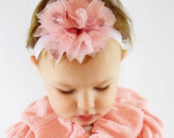 Pink sparkle bow headband, baby headband, baby girl, baby shower gift