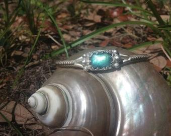 Handmade sterling silver labrodorite goddess bangle