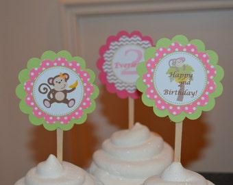 Monkey Theme Birthday Cupcakes -Monkey Party - Monkey Birthday - Monkey Cupcake Topper - Pink and Lime Green - Chevron Stripes - Set of 12