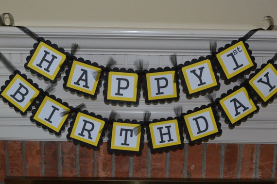 black and yellow birthday banner happy birthday banner
