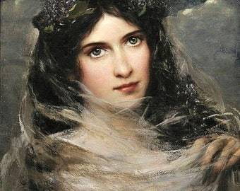 Dark-Haired Beauty in a White Veil - Counted cross stitch pattern in PDF format