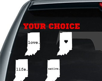 Indiana State Decal | I love Indiana Decal | Heart Indiana Decal | Indiana Car Decal