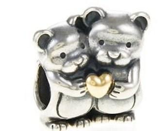 Authentic Pandora Sterling Silver & 14Kt Bear Hug Bead 791395