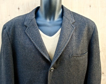 Stanley Blacker Tweed Jacket/ Vintage Stanley Blacker Wool Herringbone Tweed Sport Jacket/ c. 1960s Tweed Blazer/ Ivy Style Sport Jacket