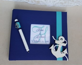 Nautical Guest Book Set -Your Choice of Colors-(Wedding, Shower, Birthday, Anniversary, Etc)- Beach Coastal Guestbook Anchor Stripes Striped