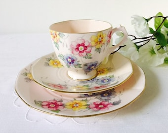 NOT FOR SALE reserved Sy 15/07/16 Tuscan China Pink Floral Trio, Staffordshire, c1936.