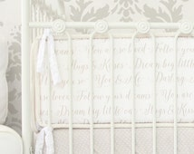 Love Letters | Taupe and White Crib Bumpers