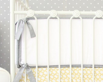 Silver and White Baby Bumpers | Ryan's Yellow and Gray Collection