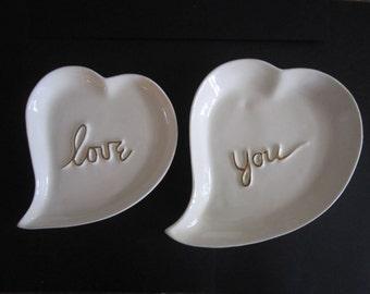 Vintage Valentine Heart Shaped Love You Plates