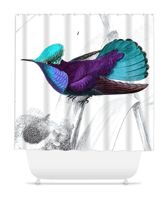 Shower curtain home decor bathroom decor hummingbird blue for Hummingbird decor