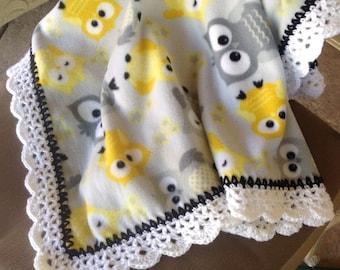 Nursery blanket, Fleece blanket, baby blanket, fleece crocheted blanket