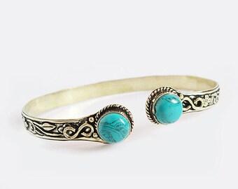 Turquoise Bracelet, Gold Bracelet, Brass Metal Bracelet, tribal armlet, gypsy armlet, body jewellry Turquoise Armlet, Gold Armlet, Sh-271