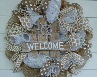 Beach Wreath, Summer Wreath, Nautical Wreath, Rustic Wreath, Sailing, Welcome Wreath,