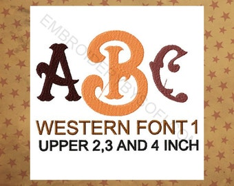 Western style 1 Machine Embroidery design Font, Monogram