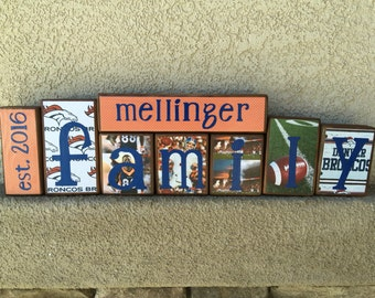 Family blocks - est. year, last name, FAMILY-Denver Broncos themed