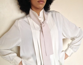 Vtg 80's SECRETARY cream bow neck tie blouse M