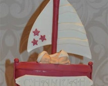 Fondant Baby Cake Topper, fondant nautical baby cake topper, fondant sailboat